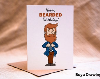 Happy Birthday Beard Card - Happy Bearded Birthday Card - Beard Card- Beardsman Birthday Card