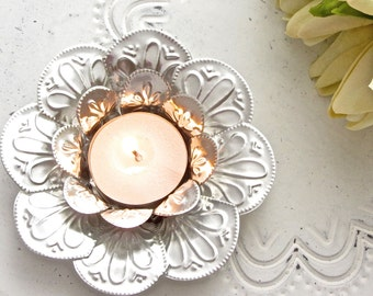 Lotus Flower Candle Holder, Boho Wedding Decor, Embossed Metal Tealight Holder