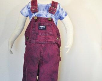 Red Kids Size 3T Denim Bib OVERALL Pants - Wine Red Upcycled OshKosh Kids Denim Overall - Girls Boys Toddler Sz 3 Year (22 W x 12L)