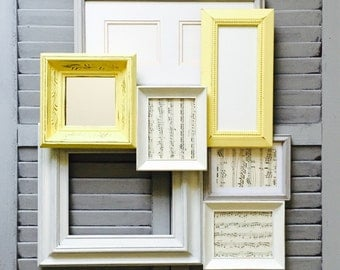 Yellow and Gray Gallery Wall Seven Piece Frame Set; Hand-Pained Frames; Custom Picture Frame Sets; Shabby Chic Frames; Nursery Decor;