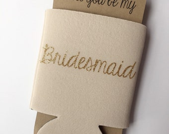 Bridesmaid Proposal Can Cooler Beige Tan | Will you be my Maid of Honor Bridesmaid | Bridal Party