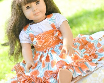 "Custom American Girl Doll Dress, Girl Doll Match Dress, 18"" Doll Clothes, Girls Christmas Gift, Floral Ruffle Dress, Free Shipping"