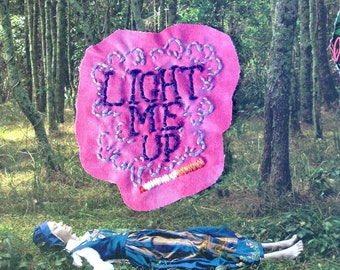 Embroidered 'LIGHT ME UP' Cigarette Patch