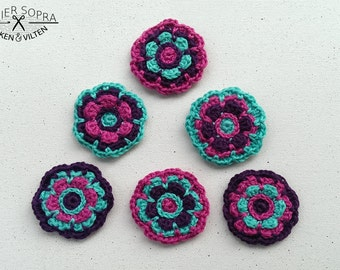 Crochet Flower pattern for hairclip, brooche or keyring