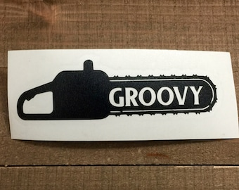 Evil Dead Ash Chainsaw Groovy Decal