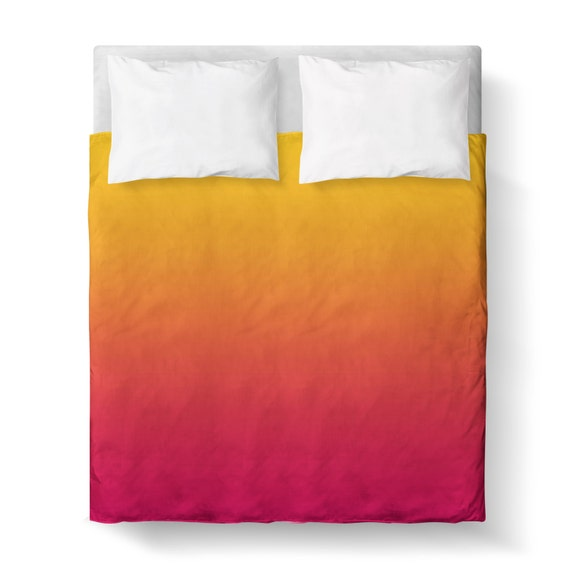 Sunset Yellow Orange Pink Ombre Duvet Cover Comforter Cover