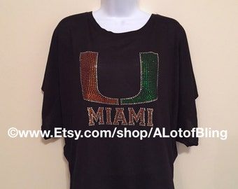 University of Miami Rhinestone T-Shirt