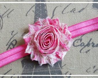 Shabby chic baby heasband, flower baby headband, Shabby chic flower, newborn headband, Photo prop, baby girl, baby accessories, pink