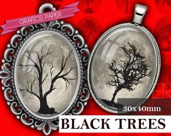 Trees black Circles Printable - digital collage sheet  30x40mm ovals - Sheet Printable, Image Pendant, ovals craft, cabochon oval- OV015