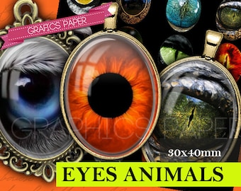 Eyes of wild animals Digital Collage Sheet Printable 30 x 40mm ovals - Ovals Images Glass & Resin Pendants cabochon Instant Download - OV112