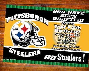 Pittsburgh Steelers Football Personalized Invitation - Digital Download