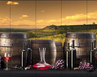 Wine Barrels with Vineyard Background -Ceramic Tile Mural 18 x 30