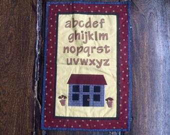 "Vintage Patchwork Placemat, Tray Cloth or Dolls Quilt 13.5"" x 20.5"" Alphabet House Theme"