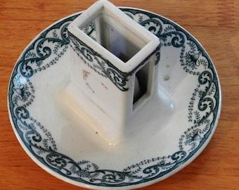 Vintage Ceramic Match Holder on Ashtray Maker Unknown Green Pattern on White     01028