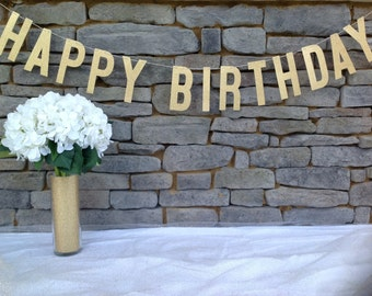 HAPPY BIRTHDAY Banner | 6 INCH Letters | Gold Glitter Happy Birthday Banner | Happy Birthday Sign | Happy Birthday Decor | Birthday Banner