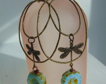 20% Off Any Order Turquoise Glass And Brass Dragonfly Earrings
