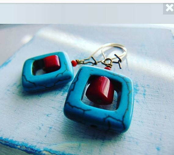 25% off any order Coral and Turquoise Earrings