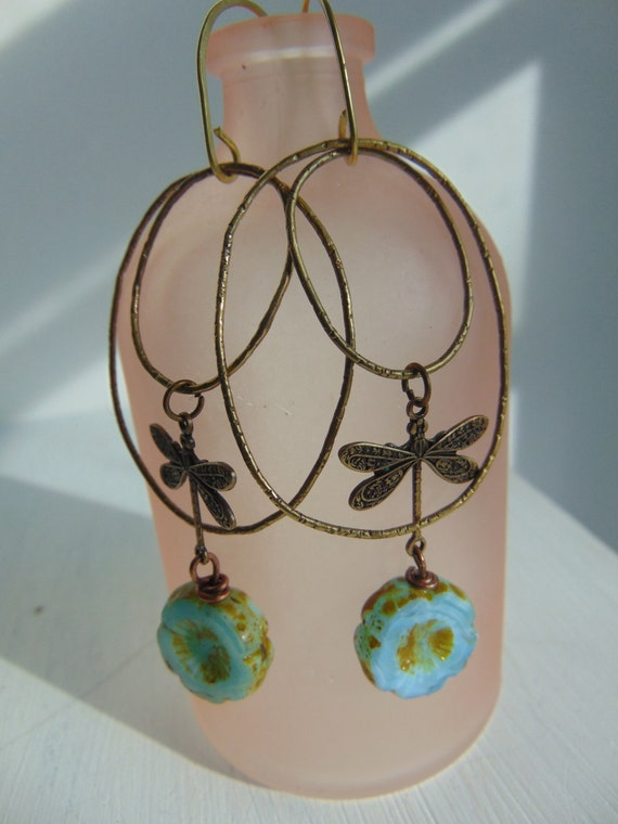 Turquoise Glass And Brass Dragonfly Earrings