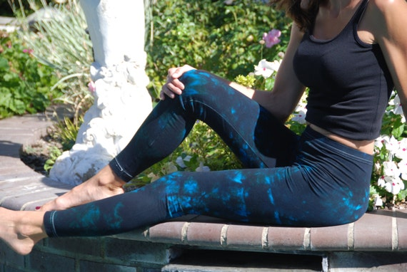 Twilight Turquoise Tie Dye Yoga Leggings by Splash Dye Activewear