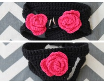 Custom Crochet Dog Puppy Cat Kitten Harness with Roses in Black/Hot Pink for Chihuahua Yorkie Pomeranian Maltese Shih Tzu Teacup Breed Rose