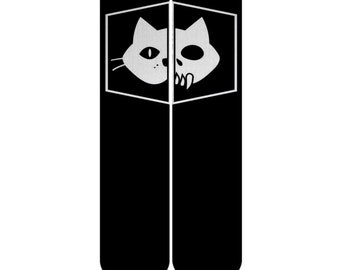Valentine's Gift Schrödinger's cat Custom Elite Socks, Black Cat Socks, Black White Schrödinger Cat Dead And Alive Cat Socks