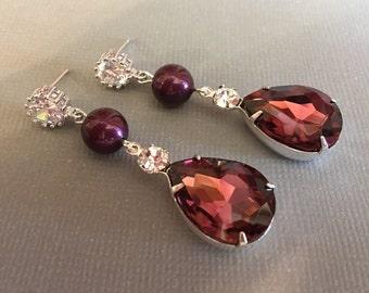 Long Burgundy Earrings Cranberry Earrings Swarovski Pearl Blackberry maroon CZ Rhinestone Sterling posts Wedding Jewelry Mother of the Bride