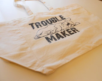 Trouble Maker 8oz Cotton Canvas Tote Bag, Sleeping Frenchie Tote Bag, Fun Weekender, Yoga Tote Bag, Workout Bag, Market Bag