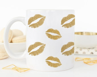 Coffee Mug Gold Lipstick Kisses Coffee Cup - XO XO Mug - Love Mug - Hugs and Kisses Mug