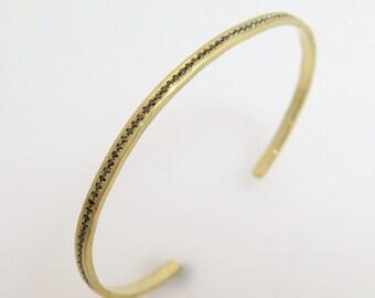 Diamond bracelet, Diamond cuff bracelet, Cuff bracelet gold, Black diamond bracelet, Hammered gold bracelet, 18k gold bracelet