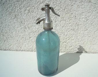 Vintage Light Blue Seltzer Bottle, Romanian Seltzer Bottle, Blue pattern Seltzer Bottle