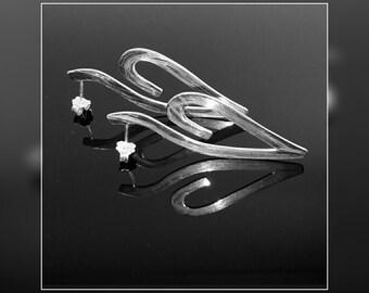 Silver earrings,  Heart,  Love,  Handmade,  Gift,  For Her