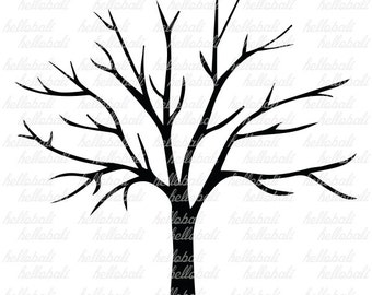 Thumbprint Tree. Tree Branch / Branches / No Leaves. Wedding / Birthday / Family. JPG. PNG. PDF. Printable. [Instant Download]