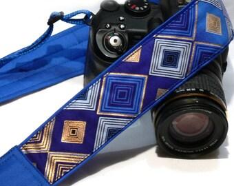Camera Strap. DSLR Camera Strap. Gold Blue Camera Strap. Padded Camera Strap. Fashion Camera strap.  Camera Accessories