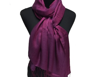 Plum-Purple-100% Silk-Premium Quality-Shawl-Pashmina -Shawl- Scarf-Taditional-Paisley-Wrap-Soft-Warm-GIFT-India-Reversible