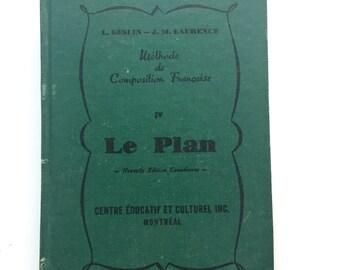 Vintage 1962 French Composition book, Le Plan - Méthode de composition française, Hardcover, French litterature