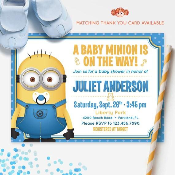 minions baby shower invitation printable invitation red head invites