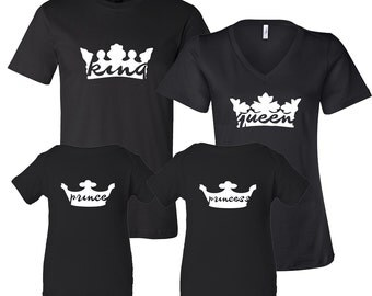 King Queen Prince or Princess Royal Family T-Shirt Set Black V-Neck T-shirt, Baby Onies Baby shower gift Baby Announcement