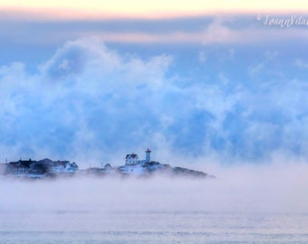 Nubble Lighthouse, Lighthouse Photo, Maine Photograph, Sea Smoke Art, Beach Decor, Seascape Print, Nautical Art, Ocean Sunrise, Cottage Art