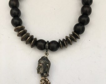 Onyx Stretchy Bracelet with Sterling Silver Buddha Head and Tassel