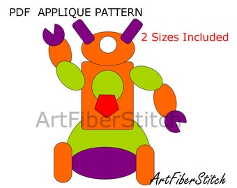 Bubble Robot PDF Applique Template Pattern - available for instant download from ArtFiberStitch