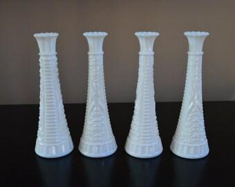 "Set of 4 vintage of milk glass bud vases 9"""