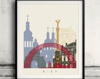 Kiev skyline poster - Fine Art Print Landmarks skyline Poster Gift Illustration Artistic Colorful Landmarks - SKU 1862