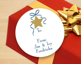 Personalized Star Holiday Gift Stickers