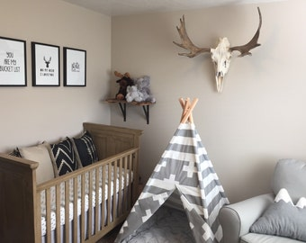 Gray and White kids teepee play tent