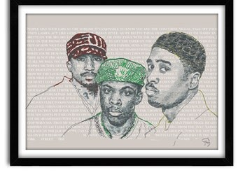 A Tribe Called Quest Poster, Lyrics Print, Q-tip, Phife Dawg, Hip Hop Poster, Office Art, Music poster, Pop Art, Wall Decor, Dorm Room Decor
