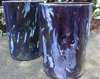 Purple and Blue Marbled Tumblers (pair)