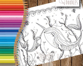 Mummy and Baby Narwhal Colouring Sheet