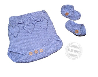 knitted Baby diaper cover & booties set ANY COLOR, baby girl diaper cover, hearts, baby girl booties, knitted nappy cover