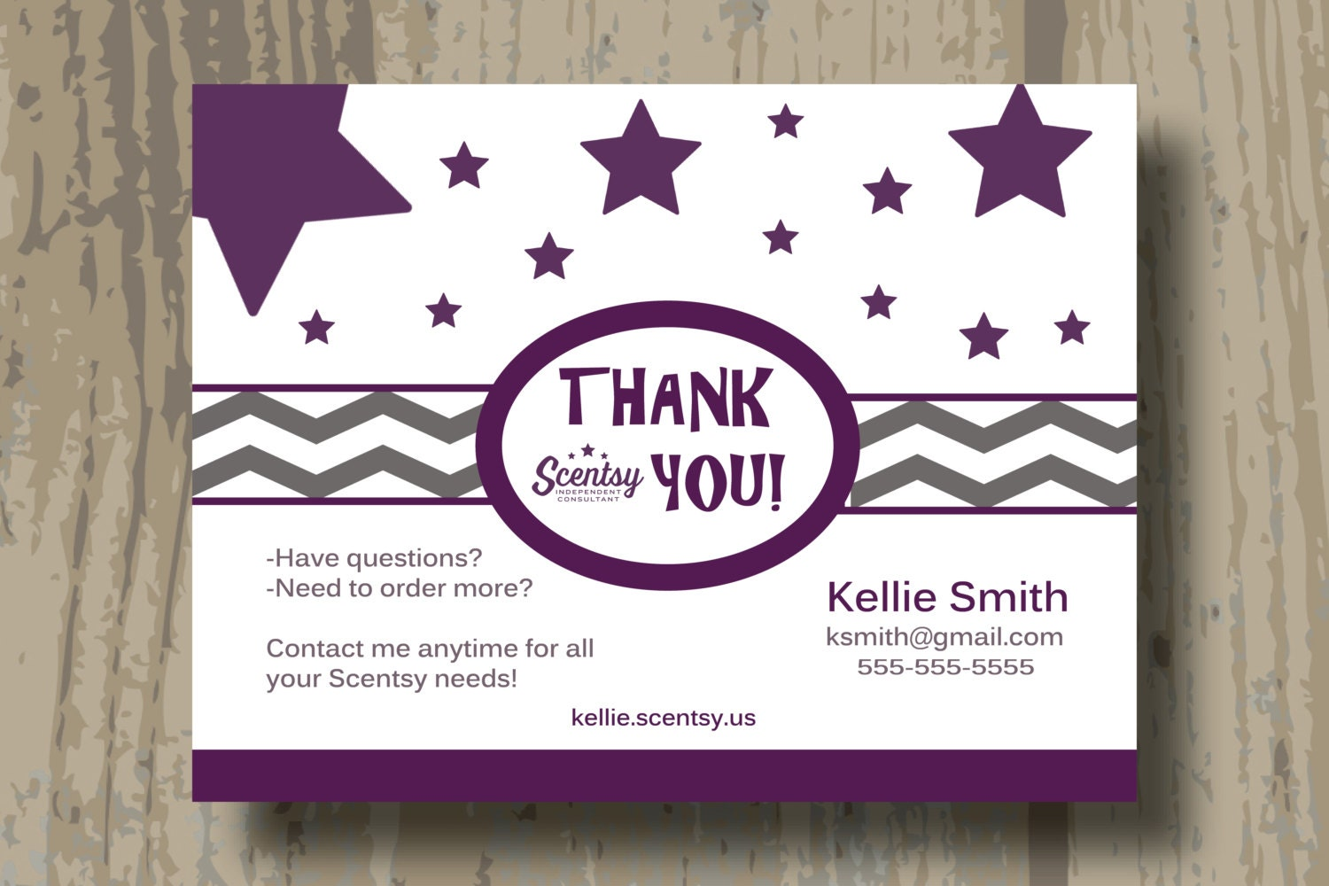 AUTHORIZED SCENTSY VENDOR Custom Scentsy Thank You Cards