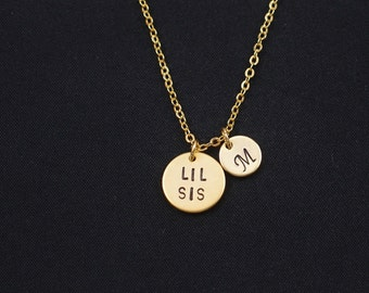 Lil Sis necklace, gold filled, hand stamped necklace, initial necklace,gold Lil Sister necklace,gift for Lil Sister,sisters jewelry,birthday